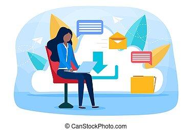 concept, messages, ligne, sauvegarde, service