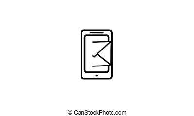 concept, mobile, 2d, téléphone, animation, courrier, message