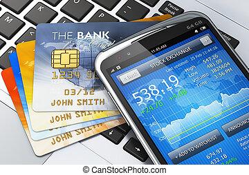 concept, mobile, finance, banque