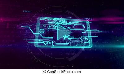 concept, mobile, média, cyber, joueur, animation