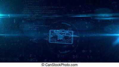 concept, mobile, média, cyber, joueur, animation, loopable