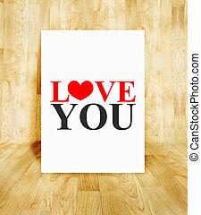 concept, mot, affiche, salle, valentin, bois, parquet, amour, blanc, vous