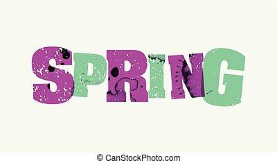 concept, mot, affranchi, printemps, illustration, art