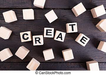 concept, mot, bois, créer, idée, blocks., écrit, conception, nouveau