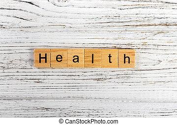 concept, mot, bois, fait, santé, blocs