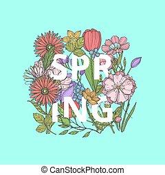 concept, mot, bouquet, printemps, illustration, main, vecteur, dessiné, fleurs