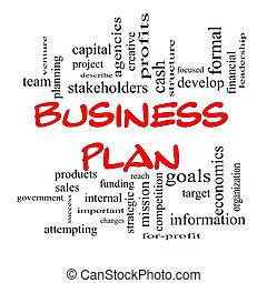 concept, mot, business, casquettes, plan, nuage, rouges
