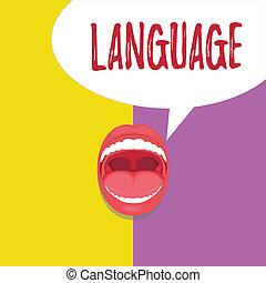 concept, mot, business, huanalysis, parlé, texte, language., écriture, méthode, écrit, non plus, mots, communication, consister