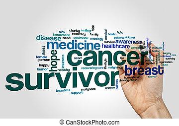 concept, mot, cancer, survivant, gris, fond, nuage