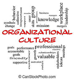 concept, mot, casquettes, culture, nuage, organisationnel, rouges