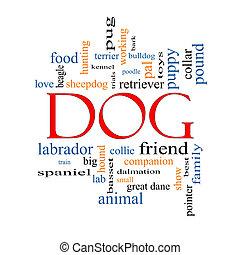 concept, mot, chien, nuage
