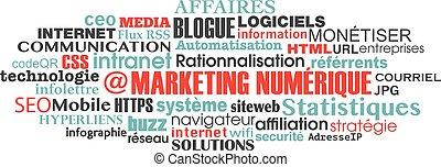 concept, mot, commercialisation, étiquette, numérique, nuage