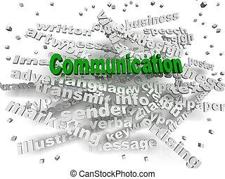 concept, mot, communication, image, nuage, 3d
