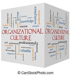 concept, mot, culture, cube, organisationnel, nuage, 3d