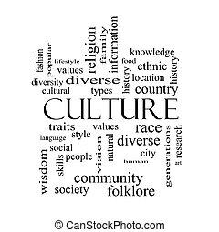 concept, mot, culture, noir, nuage blanc