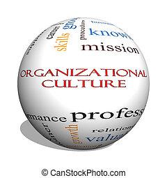 concept, mot, culture, sphère, organisationnel, nuage, 3d