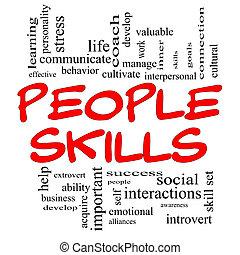 concept, mot, gens, techniques, casquettes, nuage, rouges