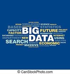 concept, mot, grand, étiquette, données, nuage