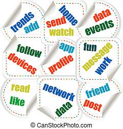concept, mot, média, étiquette, social, autocollants, nuage