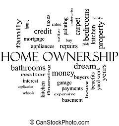 concept, mot, noir, propriété, maison, nuage blanc