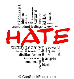 concept, mot, nuage noir, haine, rouges