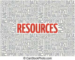 concept, mot, nuage, ressources, étiquette