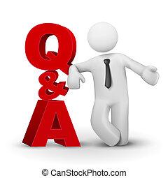 concept, mot, présentation, homme affaires, q&a, 3d