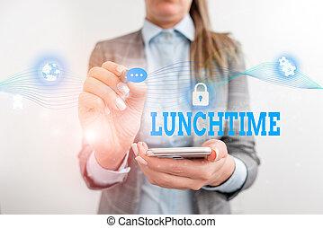 concept, mot, présentation, travail, device., usage, milieu, jour, lunchtime., après, complet, présentation, femme, dîner, écriture, business, avant, petit déjeuner, repas, humain, texte, usure, formel, intelligent