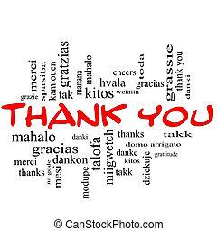 concept, mot, remercier, casquettes, nuage, vous, rouges