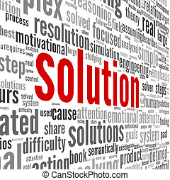 concept, mot, solution, nuage, étiquette