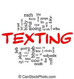 concept, mot, &, texting, rouge noir, nuage