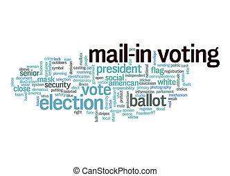 concept, mot, vote, mail-in, nuage blanc, arrière-plan.