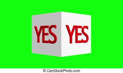 concept, non, blanc, cubes, oui, écran, tourner, vert