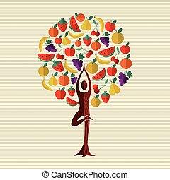 concept, nourriture, fruit arbre, santé, fitness
