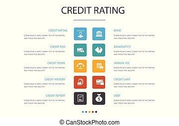 concept., option, infographic, 10, classement, faillite, risque, crédit, partition