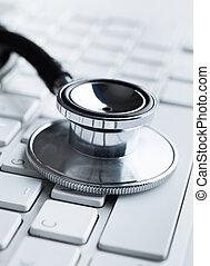 concept, ordinateur portable, haut, stéthoscope, fin, santé, keyboard.