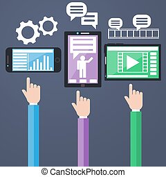 concept, ordinateurs, smartphone, e-affaires