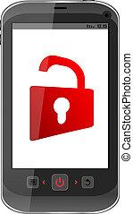 concept, ouvert, display., cadenas, smartphone, mobile, sécurité, rouges