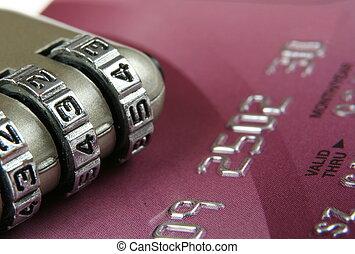 concept, padlock-, haut, crédit, fin, sécurité, carte