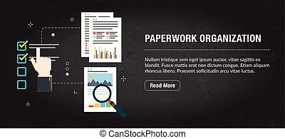 concept, paperasserie, bannière, organisation, internet.