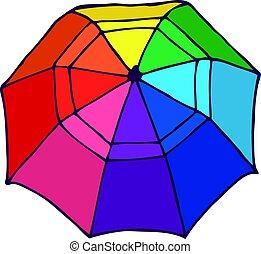 concept, parapluie, ouvert, sommet coloré, vue