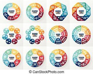 concept, parties, résumé, processes., set., graphique, arrière-plan., 7, infographics, 8, présentation, gabarits, business, options, collection, cycle, diagramme, rond, chart., vecteur, étapes, ou
