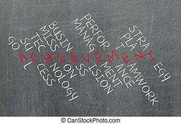 concept, performance, business, reussite, gestion, faire, stratégie, mots croisés, composants, collaboration, tel, plan, etc., accomplissement