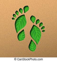 concept, pied humain, vert, impression, papier, feuille, coupure
