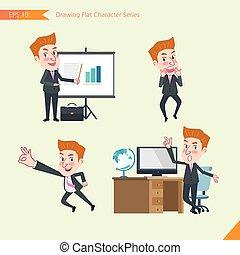 concept, plat, ensemble, ok, bureau, business, activités, signe, caractère, -, jeune, présentation, surpris, ouvrier, troubleshooter, dessin, style