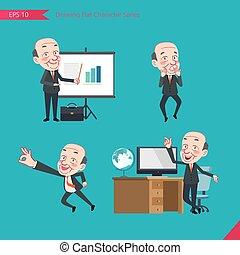 concept, plat, ensemble, ok, troubleshooter, business, activités, pdg, caractère, -, patron, signe, surpris, dessin, présentation, style