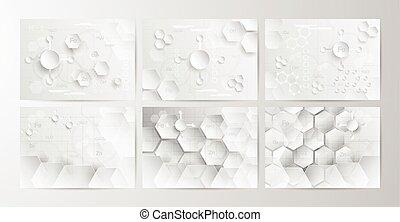 concept, plat, ensemble, tonalité, résumé, coupure, gris, illustration, chimique, digitalcraft., vecteur, papier, fond, blanc, design.