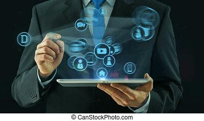 concept, pointage, tablette, affaires médiatiques, tampon, homme numérique, réseau
