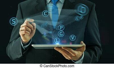 concept, pointage, tablette, affaires médiatiques, tampon, social, homme, réseau