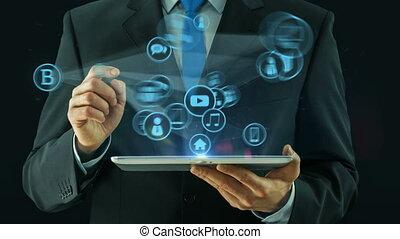 concept, pointage, tablette, grandes affaires, tampon, média, noir, données, homme